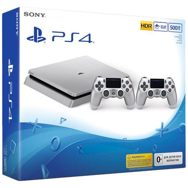 PlayStation 4 500 Gb Slim серебро (CUH-2008A)+ серебряный геймпад