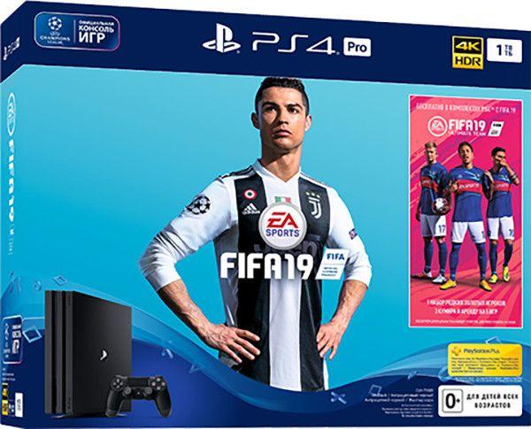 Sony PlayStation 4 Pro (1Tb) Black (CUH-7108В) + игра FIFA 19