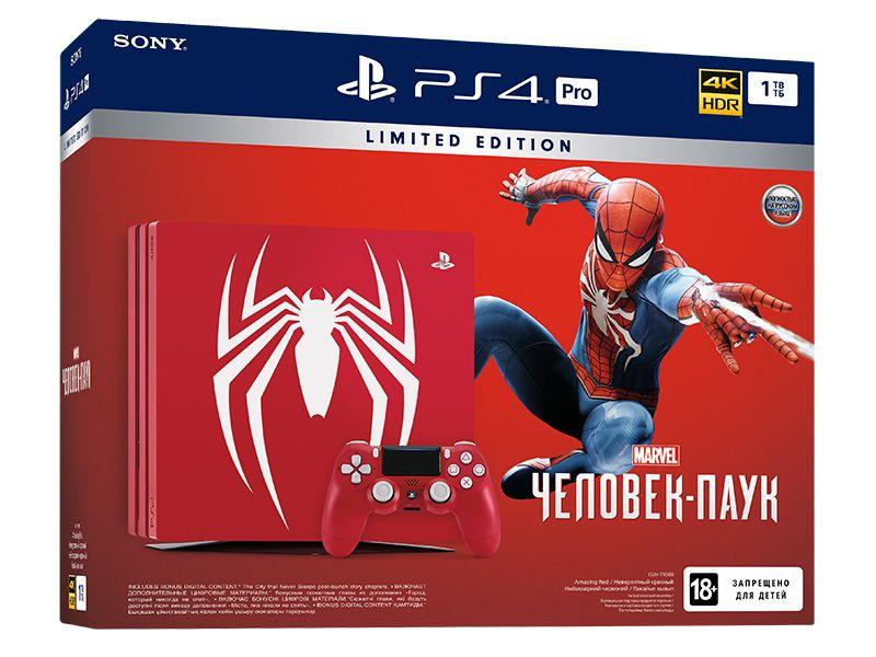 Sony PlayStation 4 Pro (1Tb) Black (CUH-7108В). Лимитированное издание Человек-Паук (Spider-man)