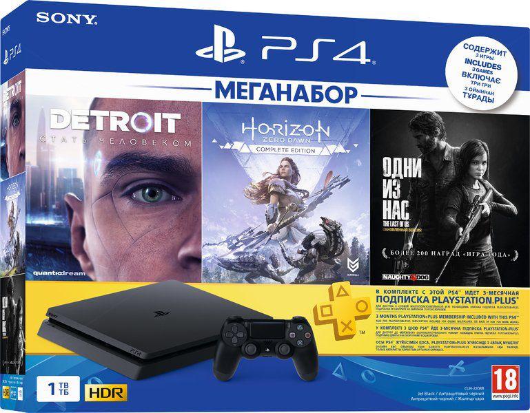 Sony PlayStation 4 Slim 1 TB (CUH-2208B) + Одни из нас. Обновленная версия + Detroit: Стать человеком + Horizon Zero Dawn. Complete Edition + подписка PlayStation Plus на 3 мес.