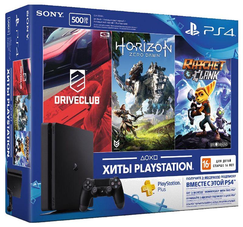 Sony PlayStation 4 Slim «Хиты PlayStation» комплект с тремя играми и подпиской PlayStation Plus 90д