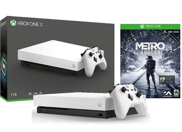 Игровая консоль Xbox One X 1 ТБ (Белая) + игра Metro: Исход (Exodus)