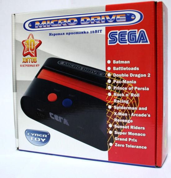 SEGA MICRO DRIVE 16-bit (черная) + 10 встроенных игр