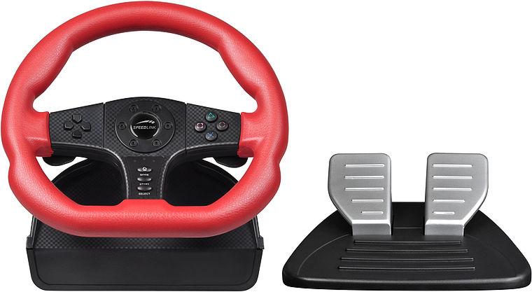 PS 3 Руль SPEEDLINK Carbon GT Racing Wheel с педалями, функция вибрации (PS3/PC) (SL-4494-RD)