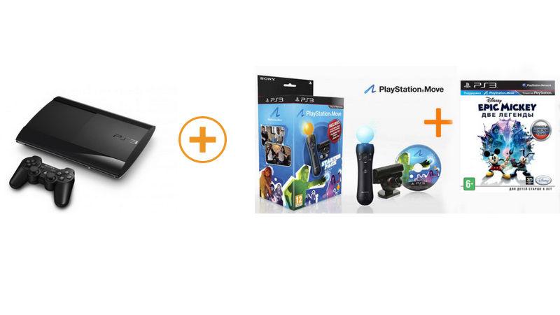 PlayStation 3  12 GB + комплект Starter Pack (Камера PS Eye + PS Move) + «Epic Mickey: Две легенды»