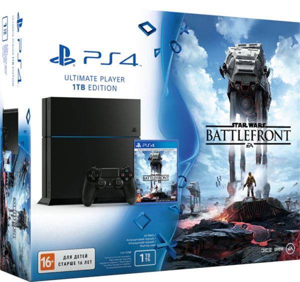 PlayStation 4 1TB матовая черная+ Star Wars Battlefront