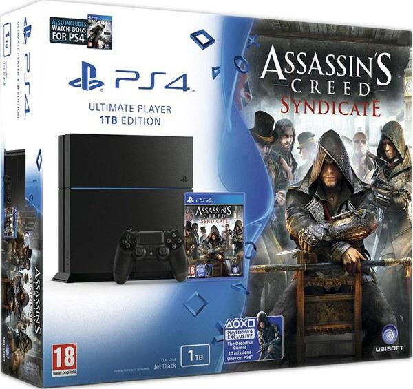 PlayStation 4 1TB матовая черная+Assassin's Creed Синдикат+Watchdogs