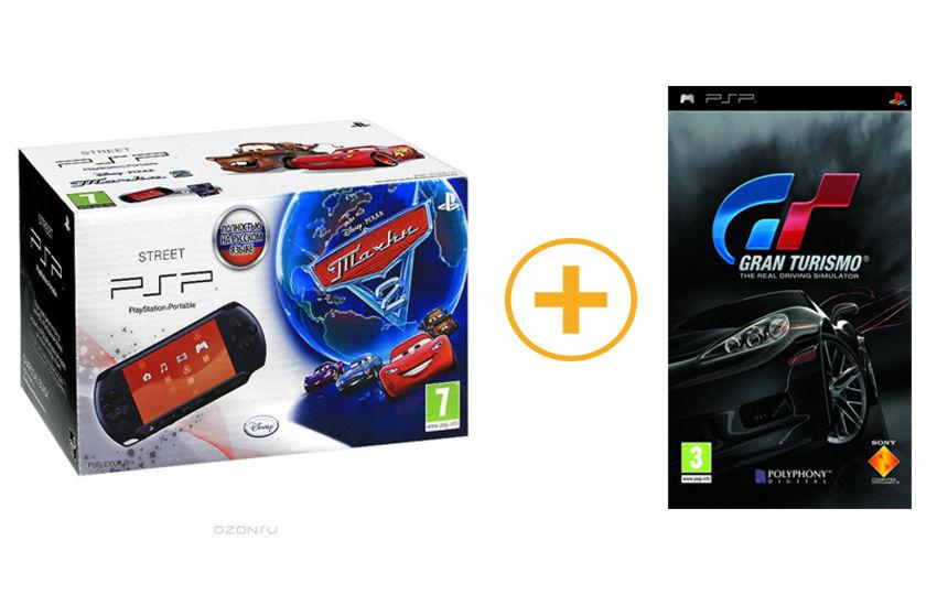 Playstation PSP — E1008CB Street + игра «Gran Turismo «+ игра «Тачки 2»