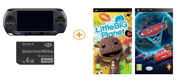 Playstation PSP — E1008CB Street + игра «Little Big Planet»+  игра «Тачки 2″+ Memory stick PRO Duo 4
