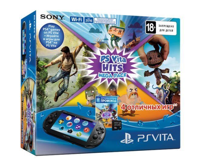 Playstation PS Vita 2016 Wi-Fi+8GB memory card+ Mega Pack HITS  4 промокода