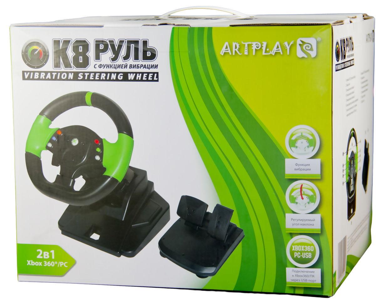 X-Box 360 Руль ARTPLAYS K8 Vibration с эфектом вибрации проводной с педалями (XB5101)