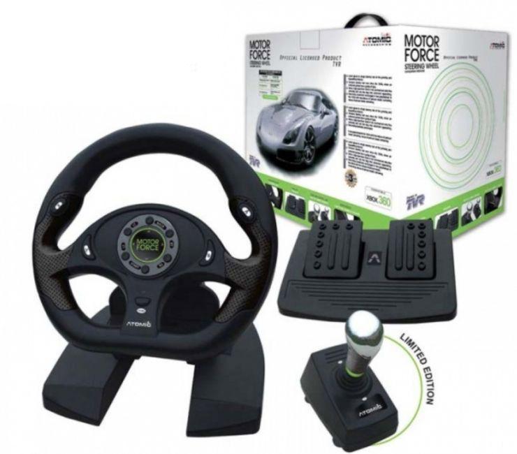X-Box 360 Руль ATOMIC TVR Motor Force, эффект вибрации (XB360A.58) + педали + КПП