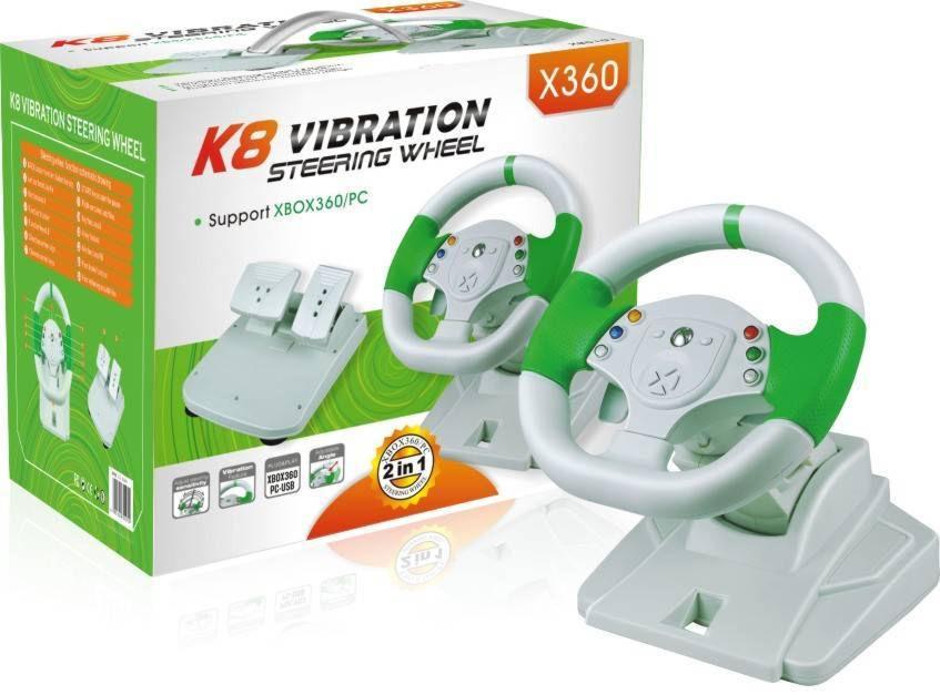 X-Box 360 Руль K8 Vibration проводной с педалями (XB5101)