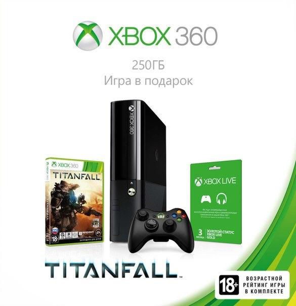 Xbox 360 E 250GB (M9V-00012) +»Titanfall»+ 3M Live