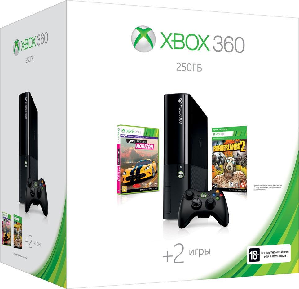 Xbox 360 E 250GB (N2V-00110) +»Forza Horizon»+ код»Borderlands2″+1M Live