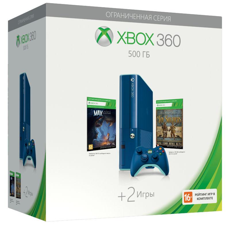 Xbox 360 E 500GB (3M3-00040) синяя +»Toy Soldiers»+»Max: the Curse of Brotherhood»