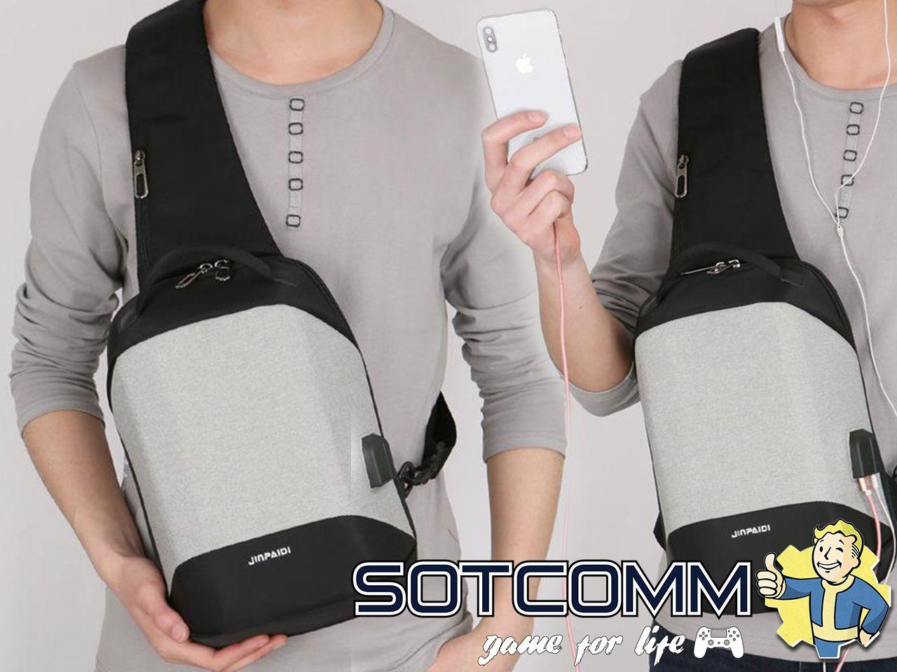 Мини городской рюкзак-антивор с USB и 3.5мм jack