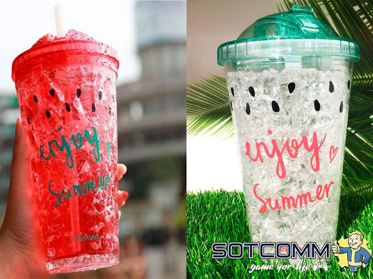 Охлаждающий стакан-тамблер с трубочкой Enjoy Summer термостакан термокружка