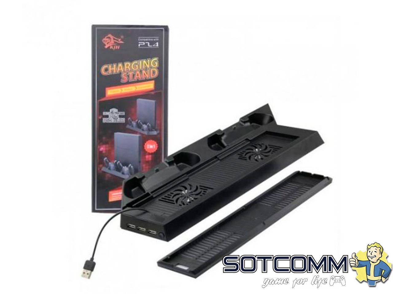 Вертикальная подставка + зарядная станция Charging Stand 2 в 1 для PS4/PS4 Slim