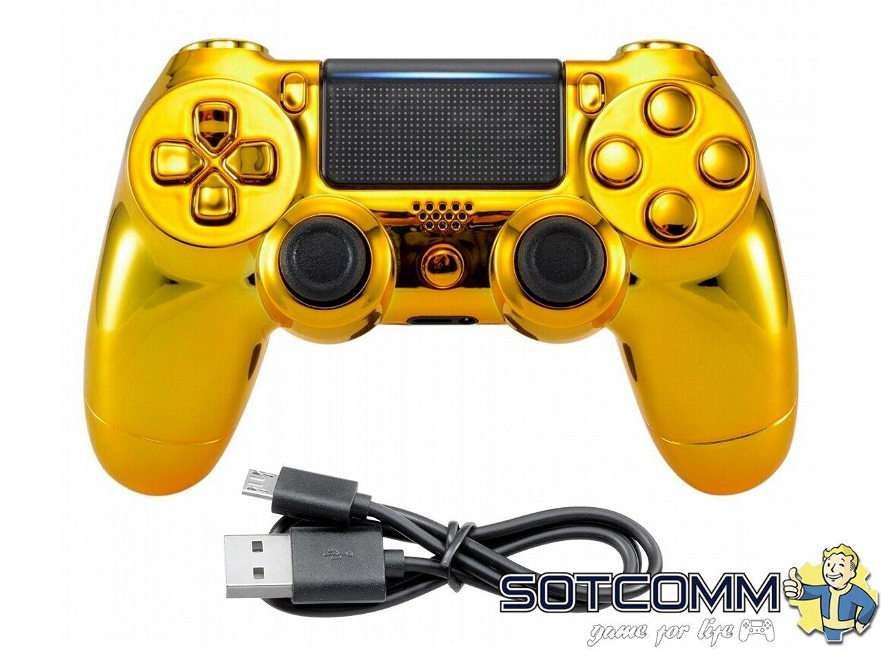 Проводной геймпад PS4 Dualshock 4 Chrome Gold