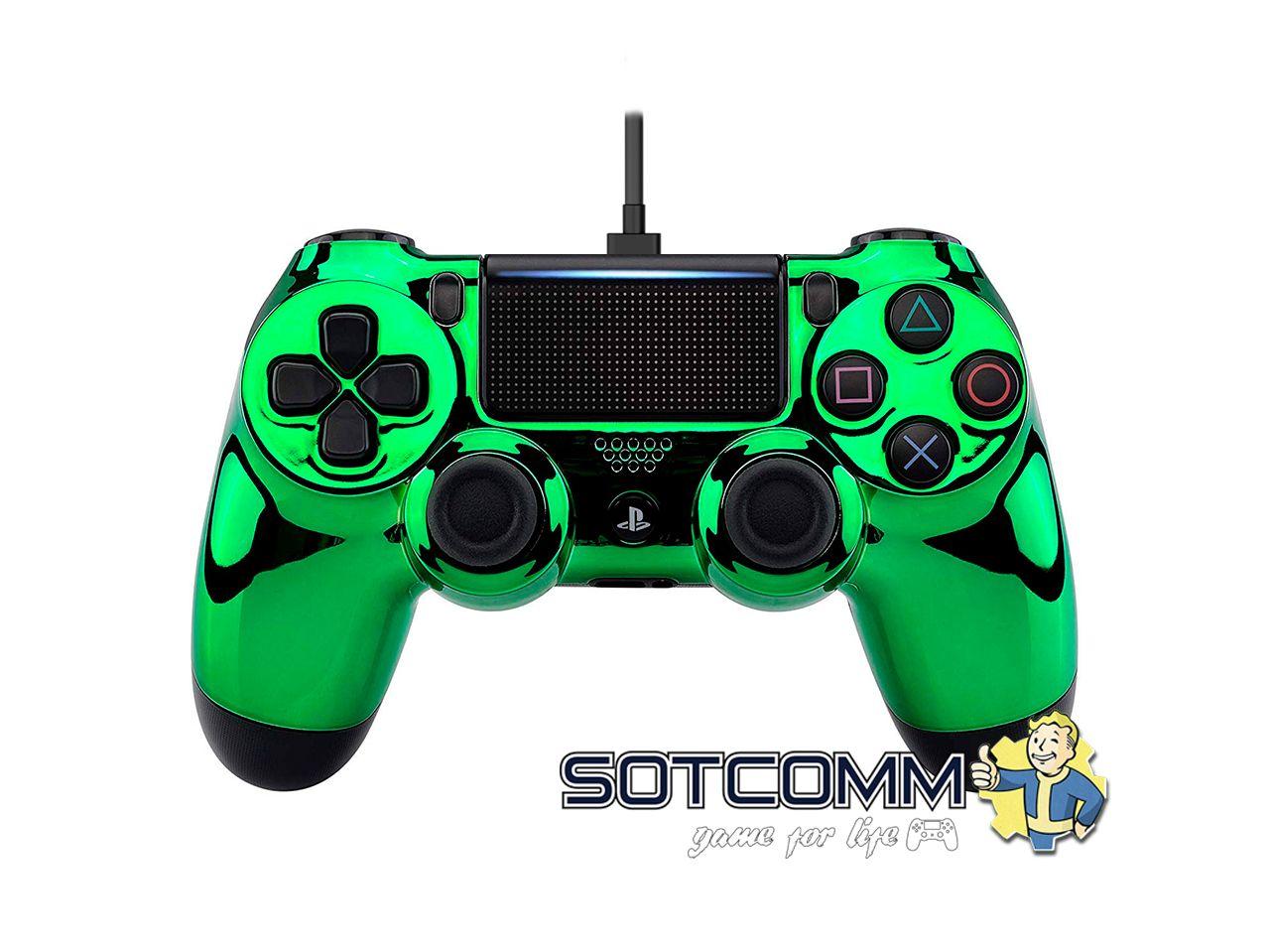 Проводной геймпад PS4 Dualshock 4 Chrome Green