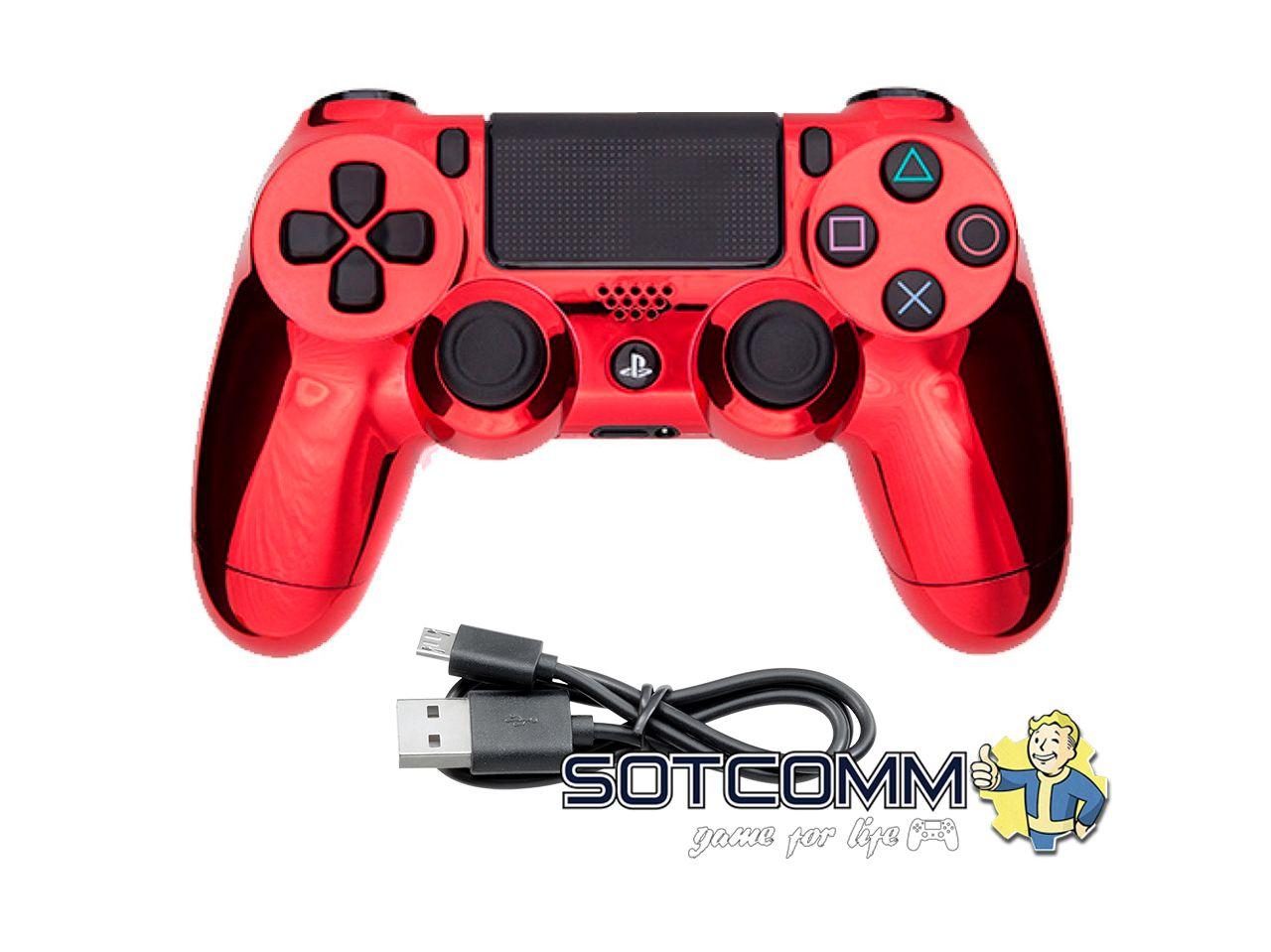 Проводной геймпад PS4 Dualshock 4 Chrome Red
