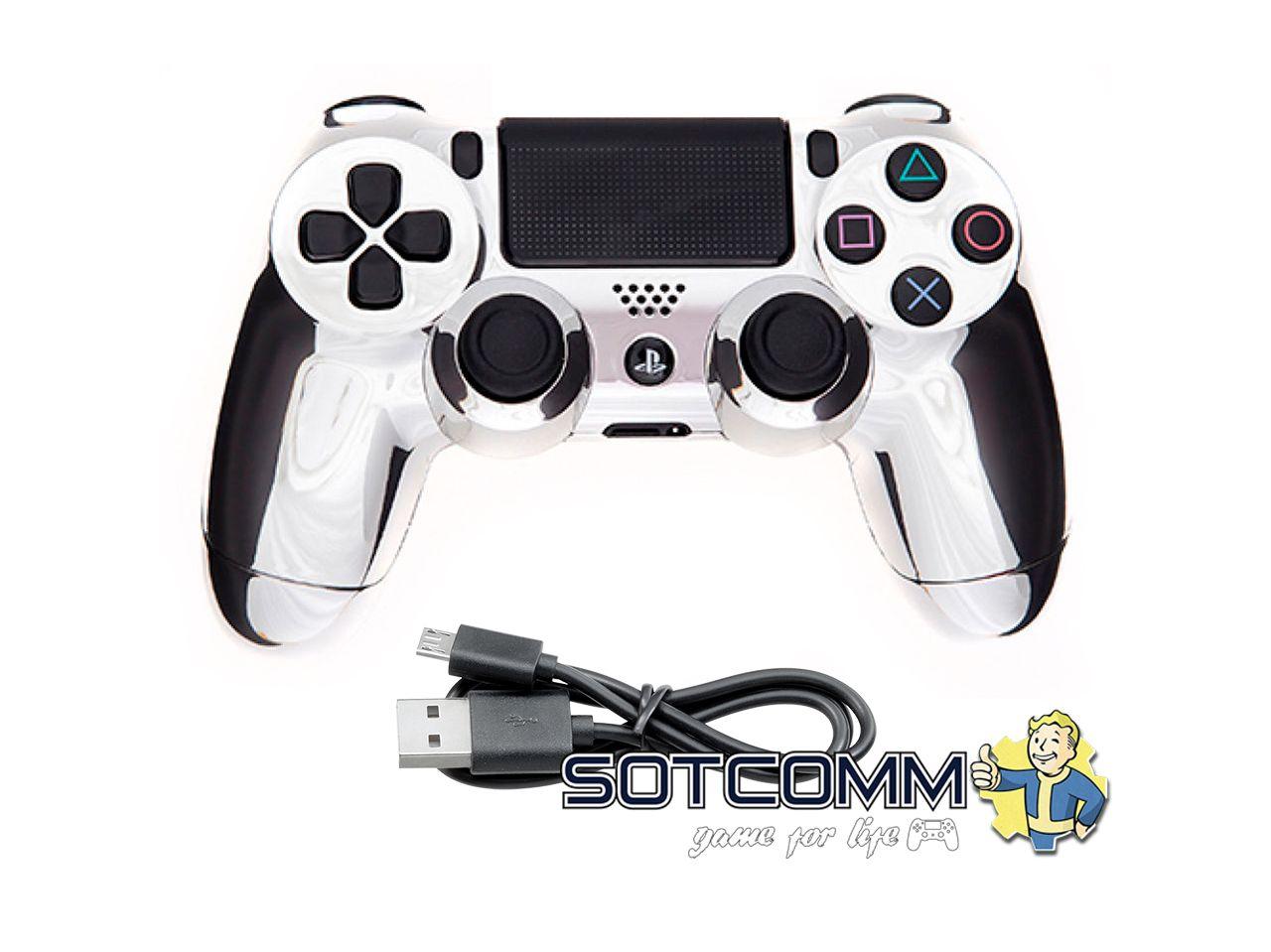 Проводной геймпад PS4 Dualshock 4 Chrome Silver