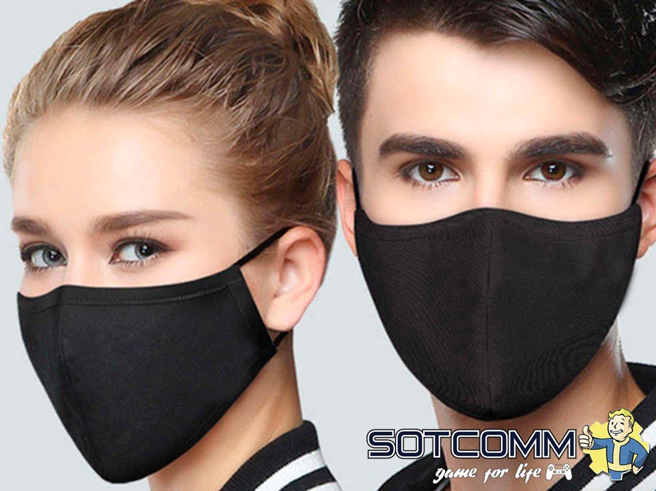Многоразовая, защитная маска 100% хлопок (Черная)