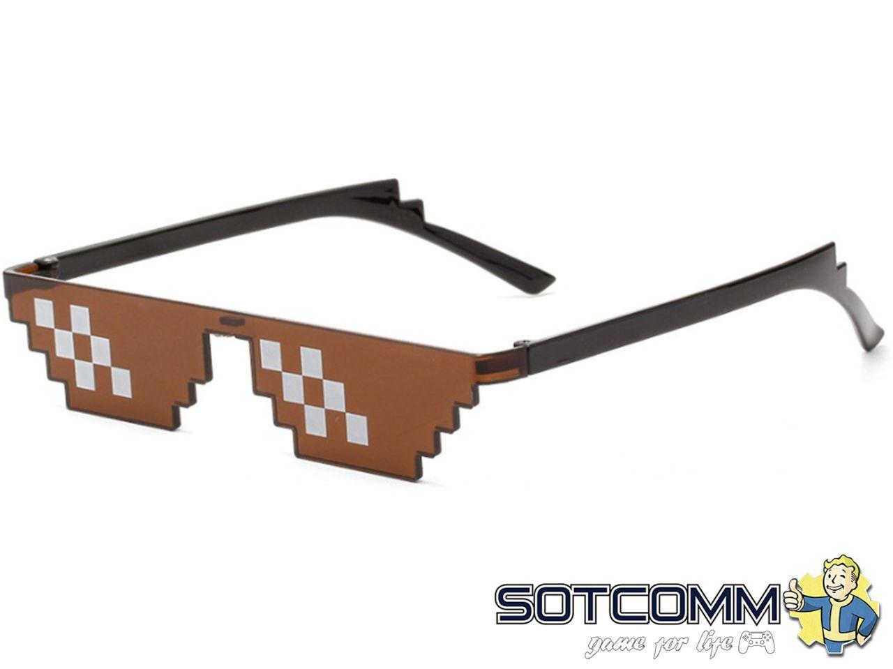 Пиксельные очки Minecraft (Коричневые)