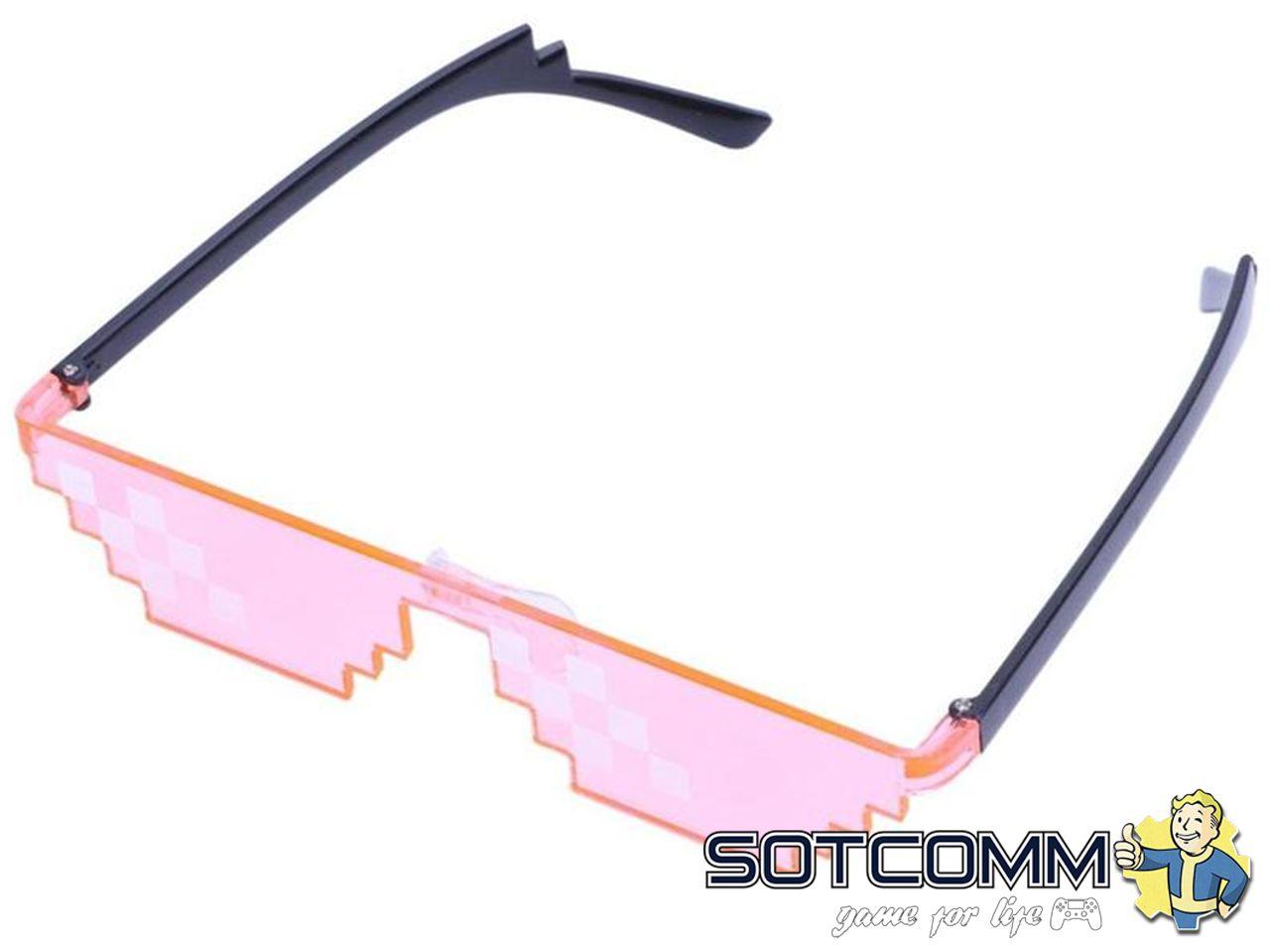 Пиксельные очки Minecraft (Розовые)