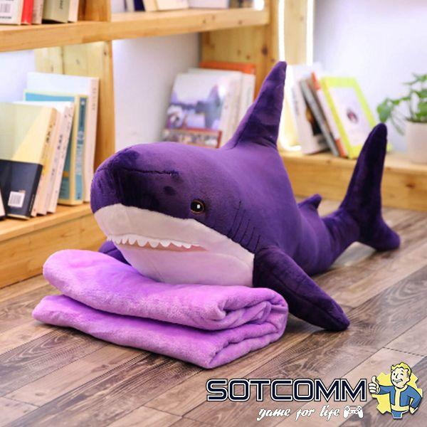 Акула из Икеи с пледом 100 см (фиолетовая)