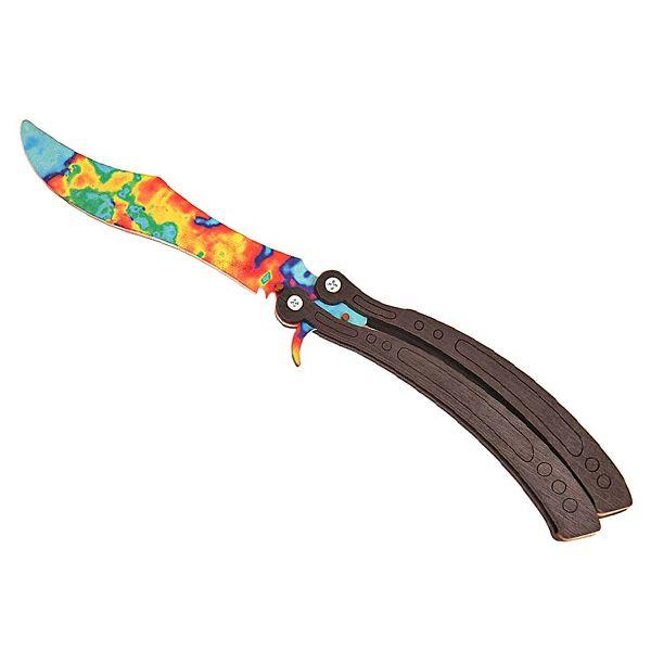 Деревянный нож бабочка CS:GO Поверхностная закалка бирюза