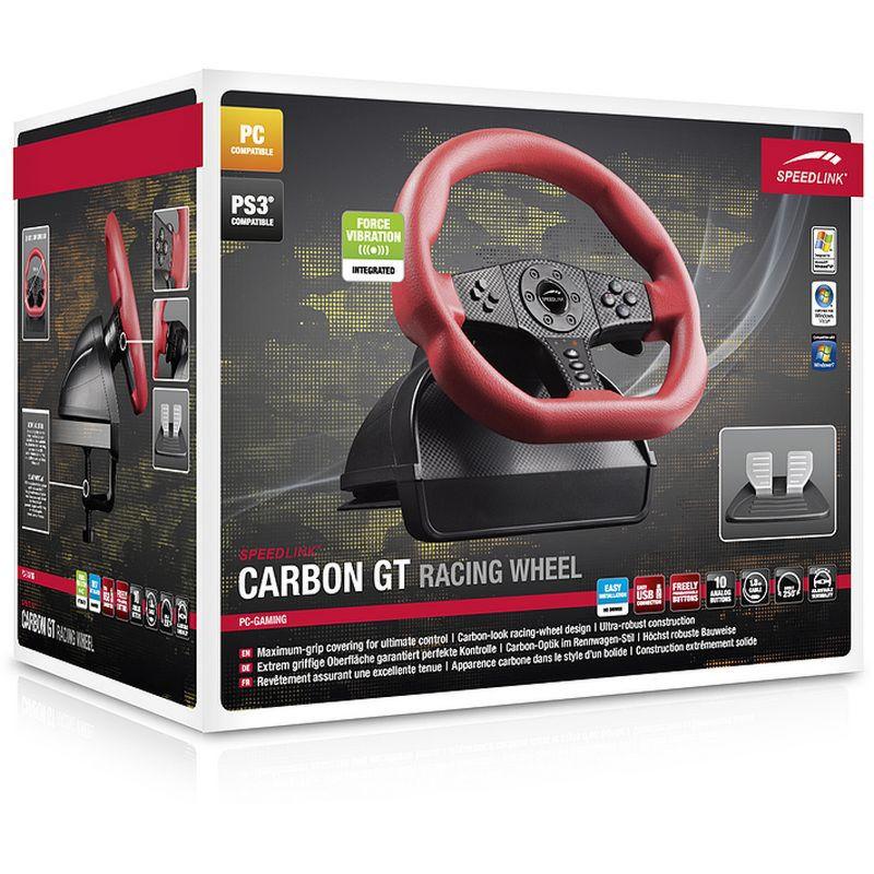 PS 3 Руль Speedlink Carbon GT Racing Wheel с педалями, функция вибрации (PS3/PC) (SL-6694-RD)