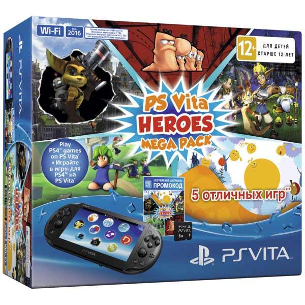 Playstation PS Vita 2016 Wi-Fi+8GB memory card+Mega Pack Heroes