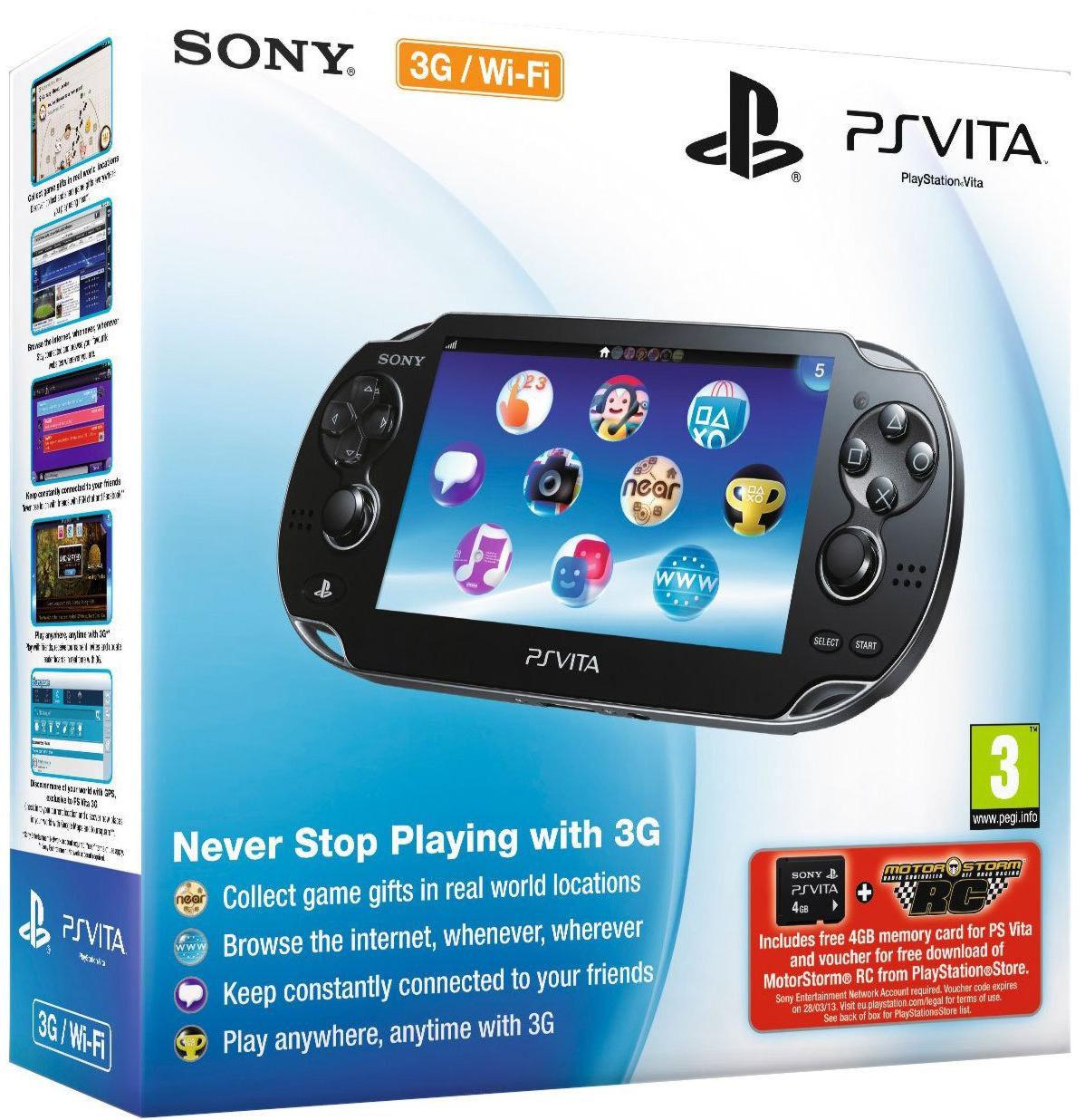 Playstation PS Vita Wi-Fi Black Rus (PCH-1008ZA01) +4GB + код LittleBigPlane +8GB +код MotorStorm RC