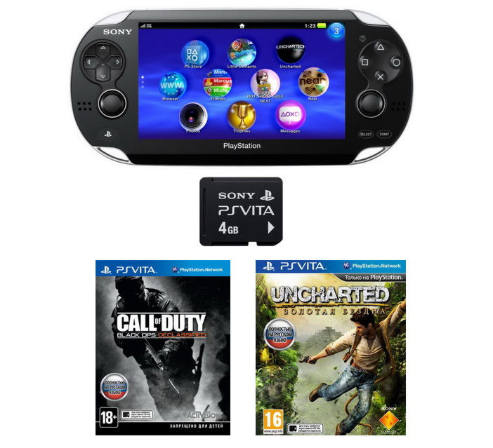 Playstation PS Vita Wi-Fi Black Rus(PCH-1008ZA01)+4GB+Call Of Duty+Uncharted