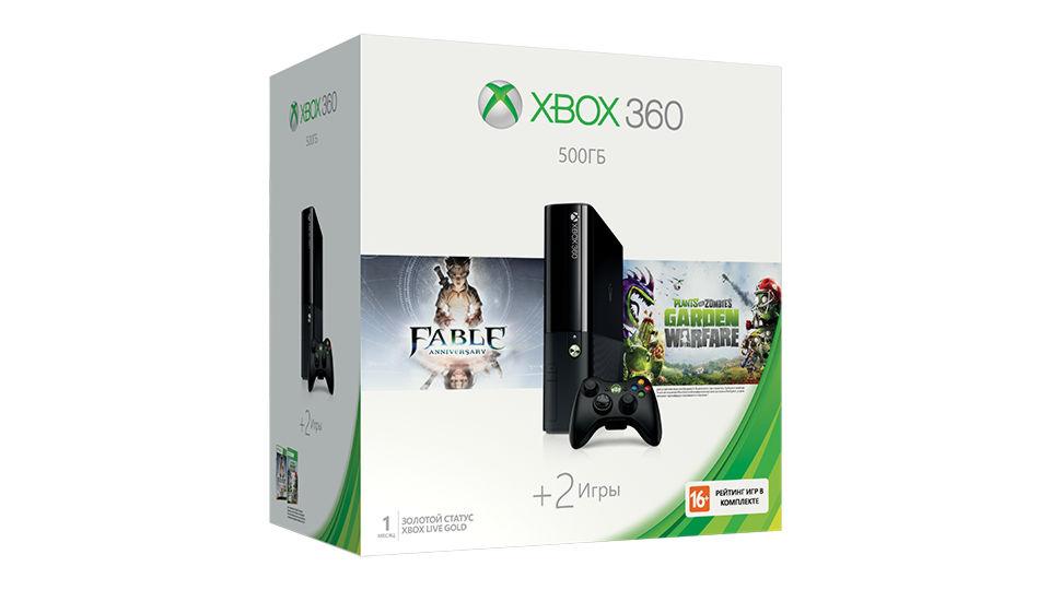 Xbox 360 E 500GB (3M4-00014) +Fable Anniversary + код Plants vs Zombies Garden Warfare