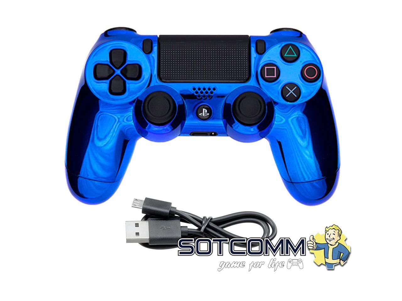 Проводной геймпад PS4 Dualshock 4 Chrome Blue