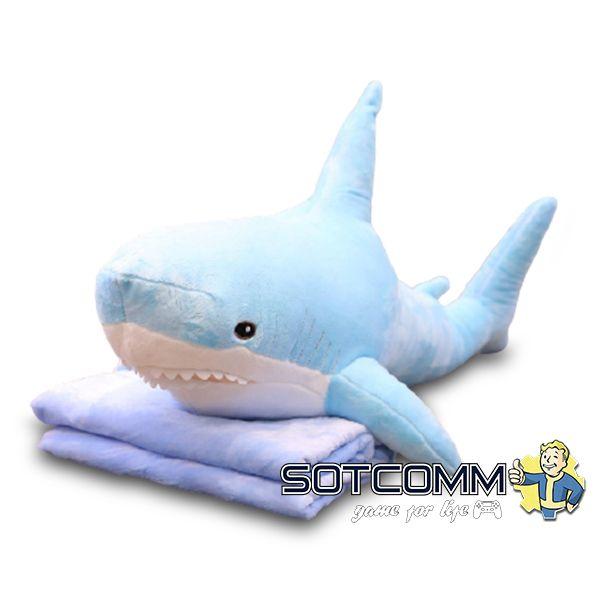 Акула из Икеи с пледом 100 см (голубая)