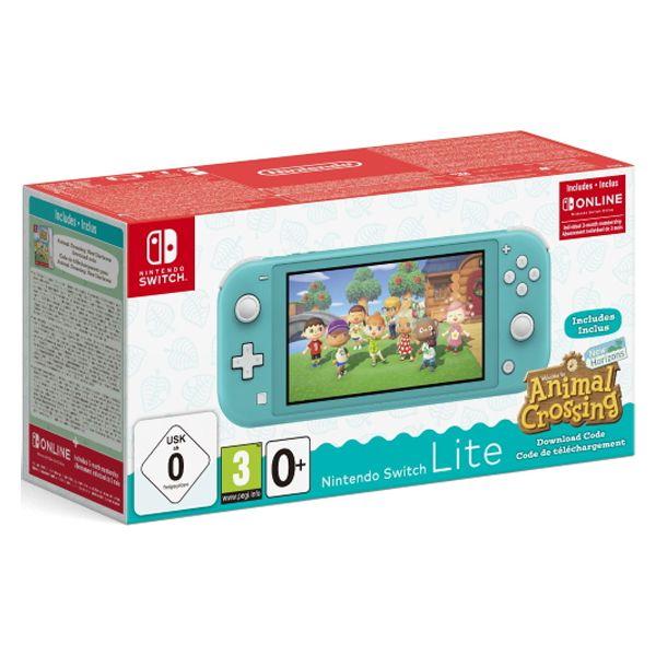 Nintendo Switch Lite, бирюзовая + Animal Crossing: New Horizons