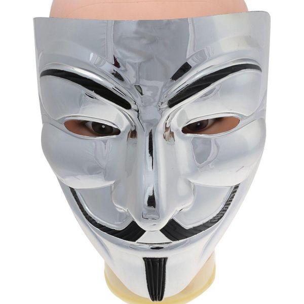 Маска Анонимуса серебристая