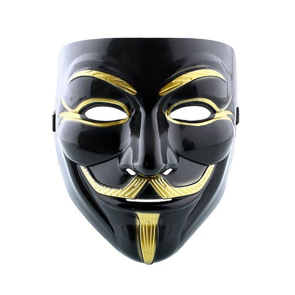 Маска Анонимуса (Черный с золотым)